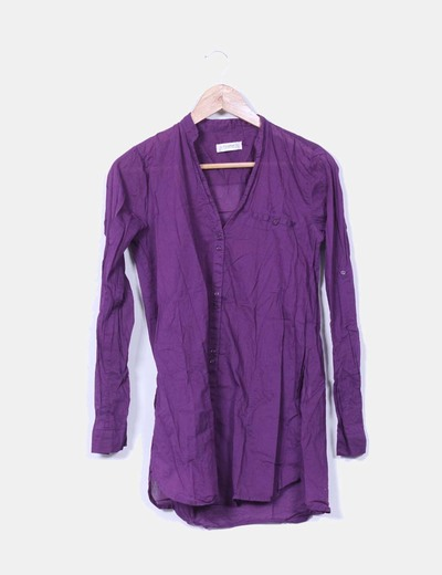 Blusa morada semi-transparente Pull&Bear