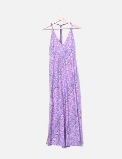 Vestido maxi lila estampado NoName