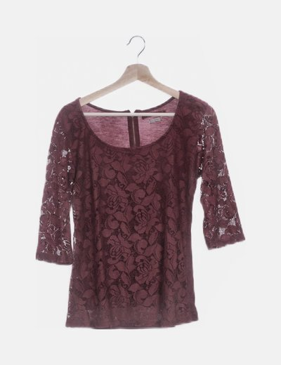Camiseta granate crochet