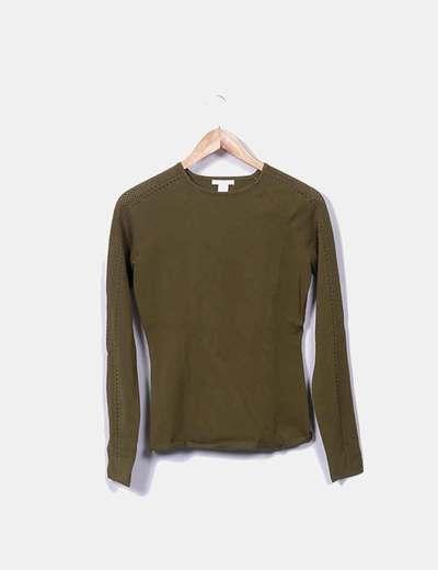 Jersey tricot verde kaki