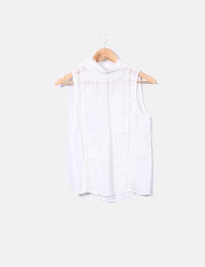 8090507bee7f Zara Blouse blanche en dentelle (réduction 76%) - Micolet