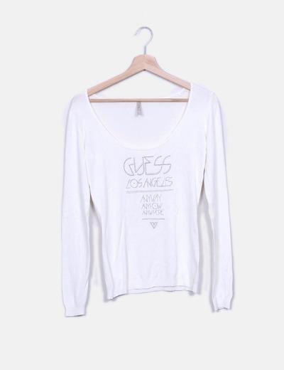 Camiseta cruda de punto print frase