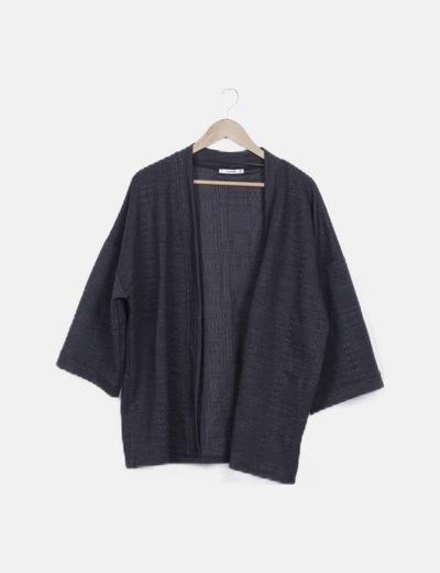 Kimono de punto negro texturizado