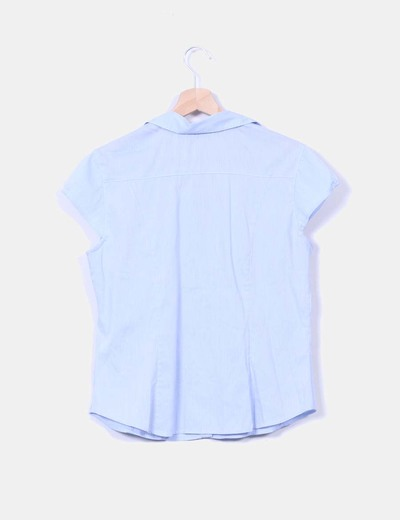 Blusa azul con mini cuadros