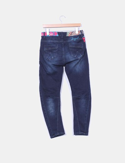 Pantalon baggy denim oscuro bordado