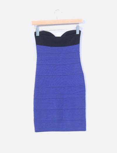 Vestido bicolor elastico sin mangas