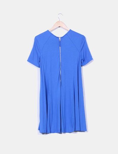 Vestido azul manga corta con vuelo