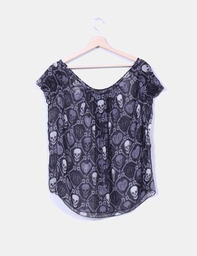 Blusa seda semitransparente print skulls strass