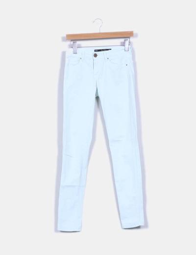 Pantalón turquesa con cremalleras Zara