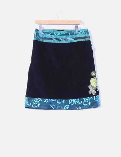 Falda midi combinada de pana