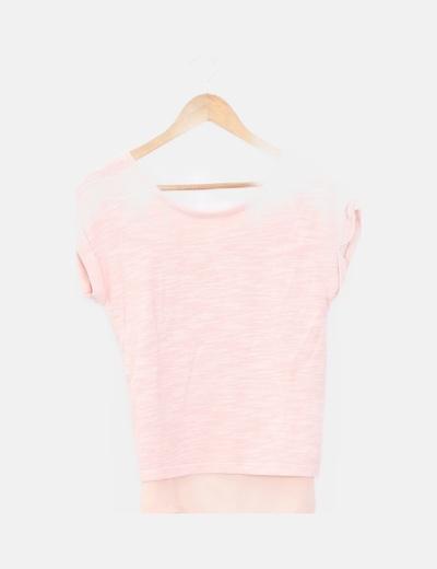 Camiseta rosa combinada lazo en espalda