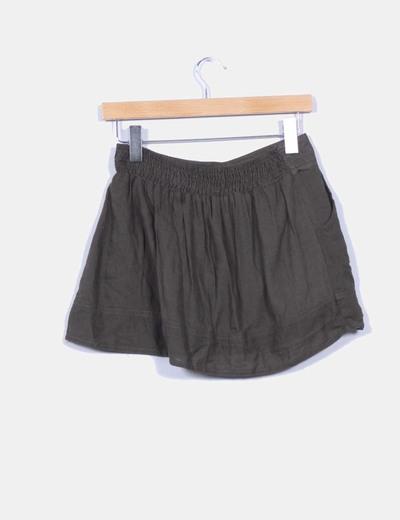 Mini falda khaki de lino