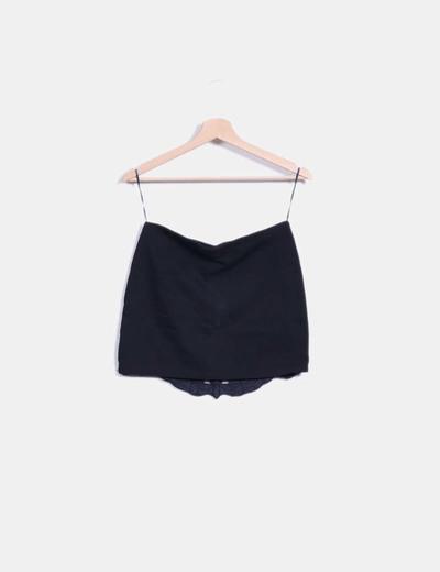 Minifalda negra combinada polipiel