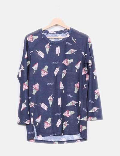 Suéter azul marino estampado 'Ice creams' NoName