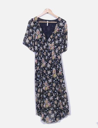 Vestido de gasa floral con abertura Pepe Jeans