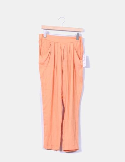 Pantalón baggy naranja satinado Zara