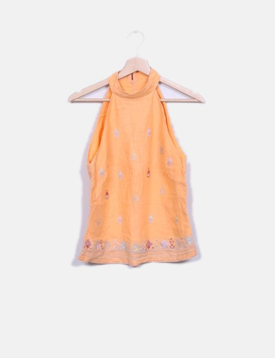 Blusa lino halter naranja French Connection