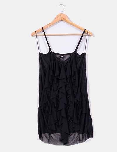 Blusa negra semitransparente de tirantes H&M