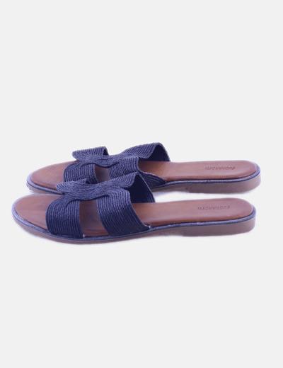 Sandalia plana rafia negra