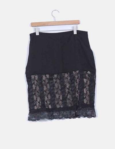 Falda negra dos texturas con encaje detalle cintura ajustable