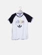 Camiseta blanca combinada print letras Adidas