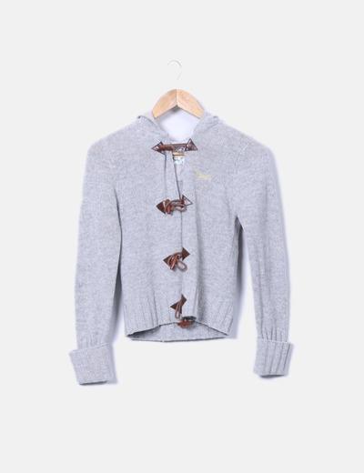 Cárdigan tricot gris con capucha Tex