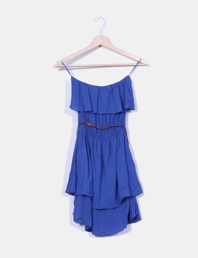 Vestido azul escote volante palabra de honor Stradivarius