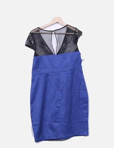 Vestido azul klein con malla negra