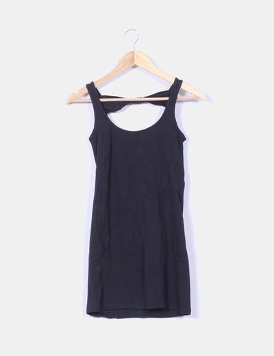 Vestido negro ajustado lazos traseros NoName