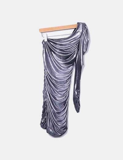 Vestido drapeado plata  asimétrico con cremalleras