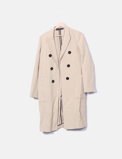 beige Manteau à double bouton long 6fgvYbI7y