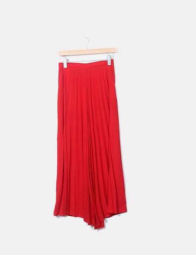 Pantalon rouge palazzo plissés Zara