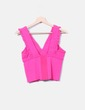 Top de punto rosa detalles plisados Zara
