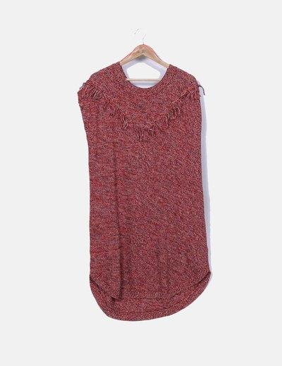 Vestido punto rojo jaspeado con flecos