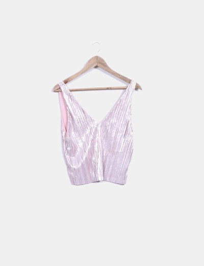 Crop top plisado rosa irisado Zara