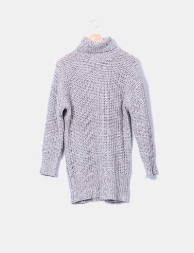 Jersey de punto gris cuello vuelto Zara