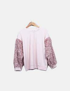 af41046646079 Sudadera rosa mangas pelo rizo Bershka