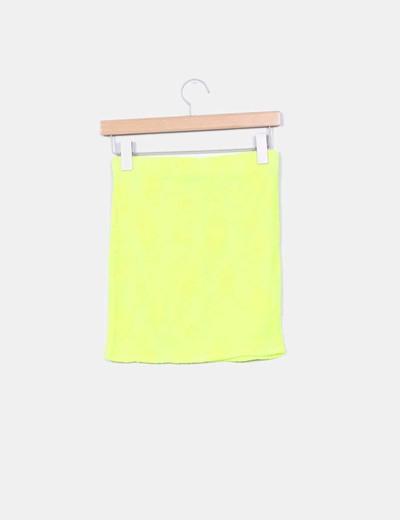 Falda rejilla amarilla fluor