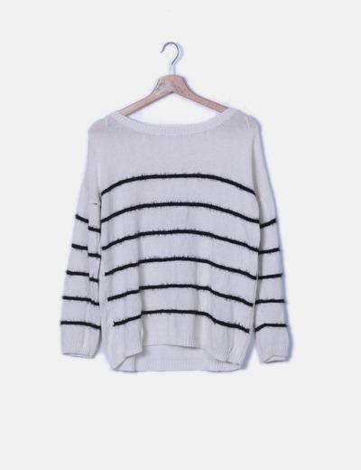Jersey tricot crudo rayas negras