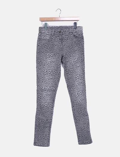 Pantalón gris animal print Naf Naf