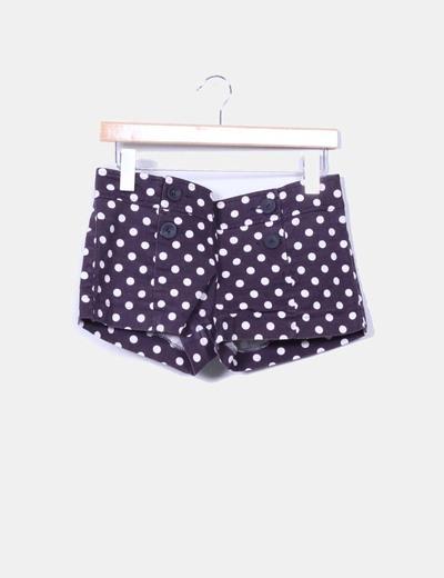 Shorts azul marino con topos Zara