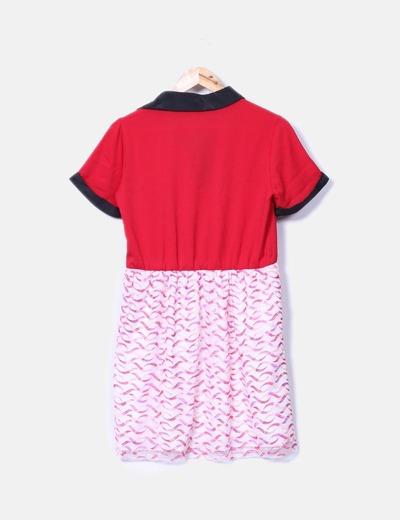 Vestido doble textura escote pedreria
