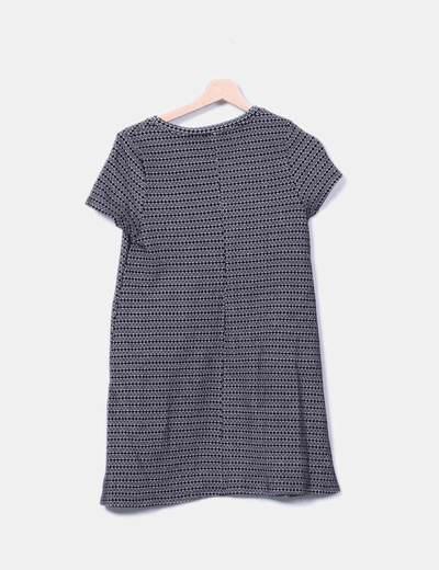 Vestido midi tricot bicolor