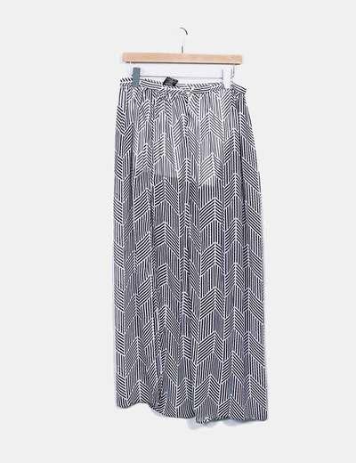 Falda maxi bicolor semitransparente