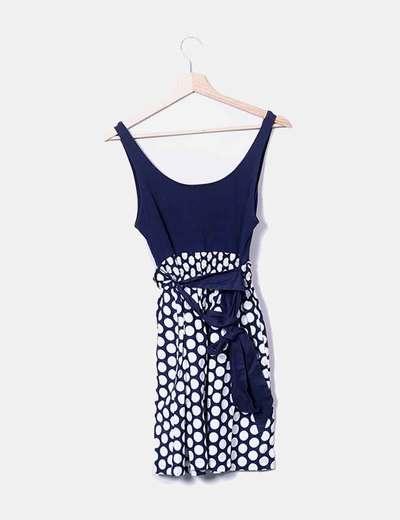 Vestido azul marino y blanco