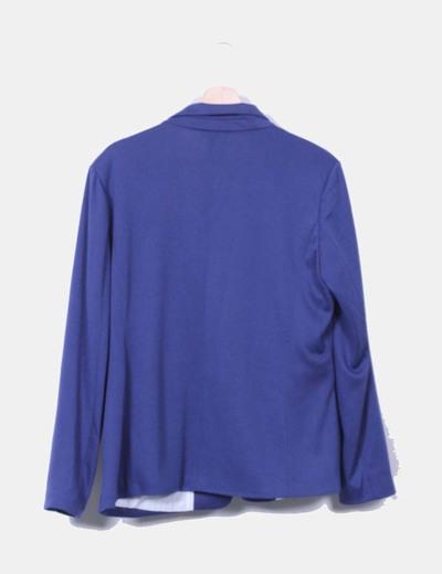 Blazer recta azul marino con bolsillos