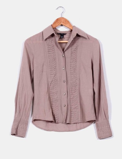 Camisa manga larga color camel  H&M