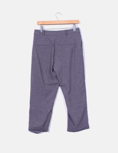 Pantalon sarga gris con pinzas