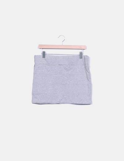 Minifalda gris jaspeada Suiteblanco