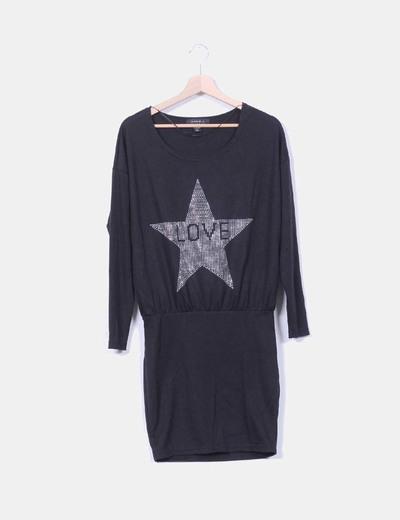 Vestido midi negro print estrellas Amisu